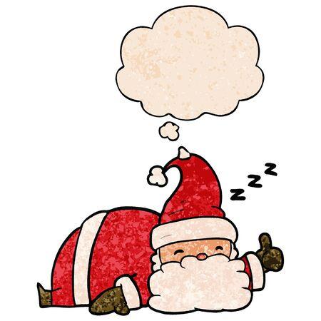 cartoon sleepy santa with thought bubble in grunge texture style Illustration