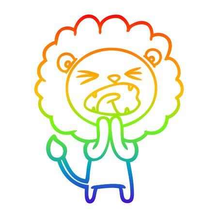 rainbow gradient line drawing of a cartoon lion praying Standard-Bild - 130131201