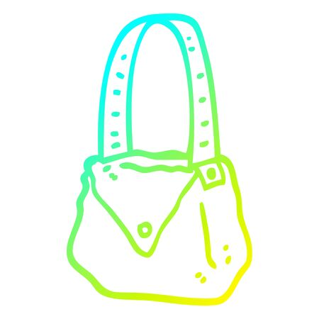 cold gradient line drawing of a cartoon satchel Ilustracja