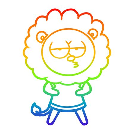rainbow gradient line drawing of a cartoon bored lion