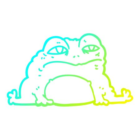 cold gradient line drawing of a cartoon toad