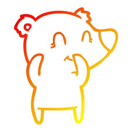 warm gradient line drawing of a giggling polar bear cartoon