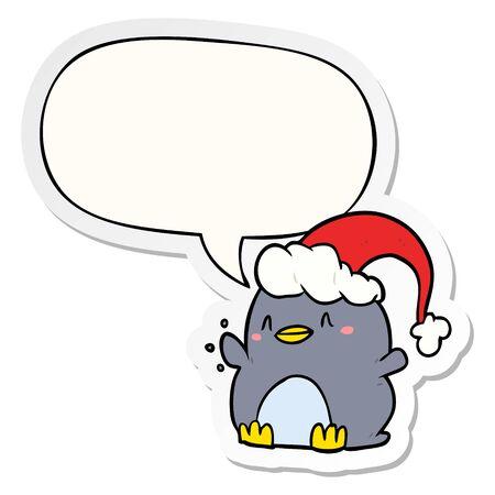 cartoon penguin wearing christmas hat with speech bubble sticker Иллюстрация