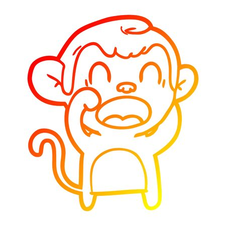 warm gradient line drawing of a shouting cartoon monkey Çizim