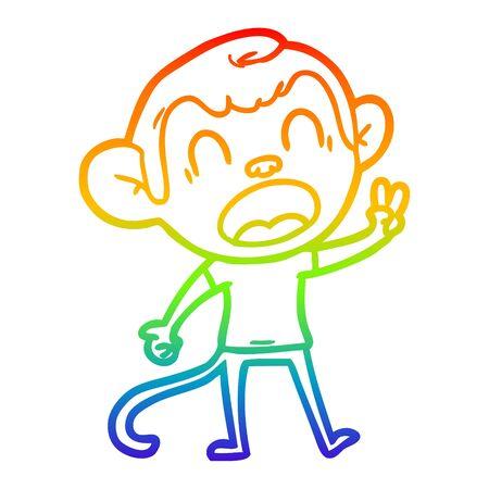 rainbow gradient line drawing of a shouting cartoon monkey Çizim