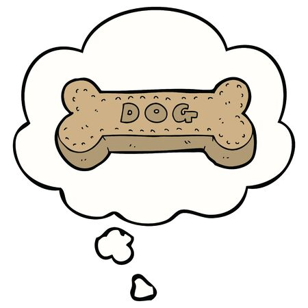 cartoon dog biscuit with thought bubble