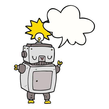 cartoon robot with speech bubble Banco de Imagens - 130072210