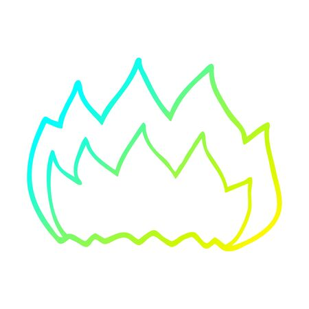 cold gradient line drawing of a cartoon gas flame Ilustração