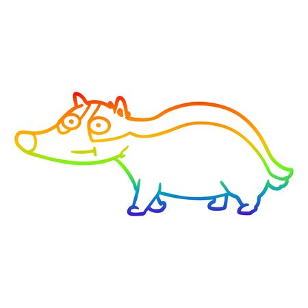 rainbow gradient line drawing of a cartoon friendly badger