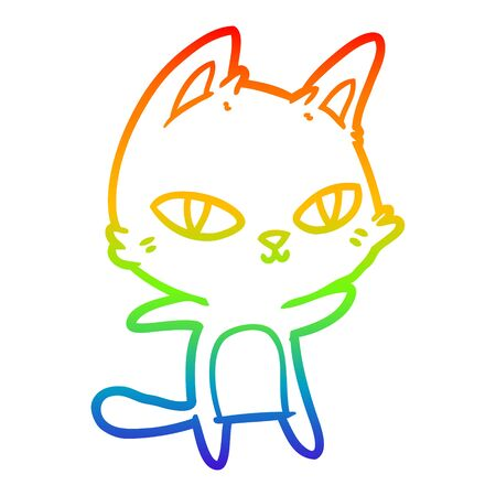rainbow gradient line drawing of a cartoon cat staring Ilustracja
