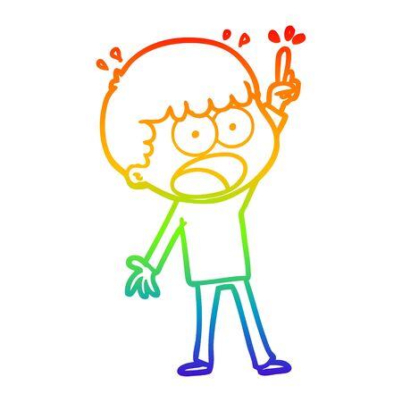 rainbow gradient line drawing of a cartoon shocked man Vector Illustration