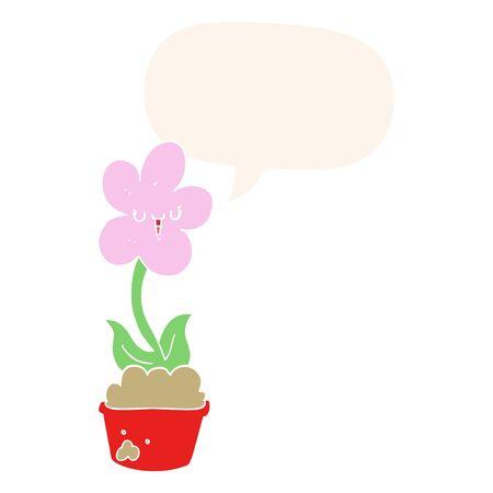 cute cartoon flower with speech bubble in retro style Иллюстрация