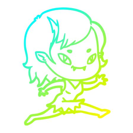 cold gradient line drawing of a cartoon friendly vampire girl running