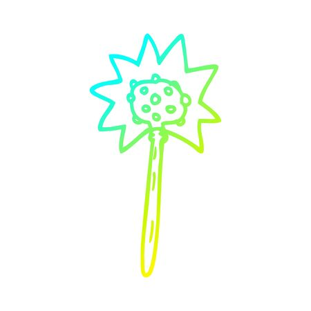 cold gradient line drawing of a cartoon mallet