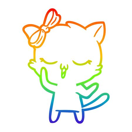 rainbow gradient line drawing of a cartoon cat with bow on head Ilustracja