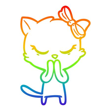 rainbow gradient line drawing of a cute cartoon cat with bow