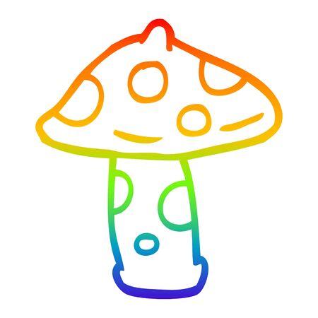 rainbow gradient line drawing of a cartoon mushroom Stock fotó - 130131579