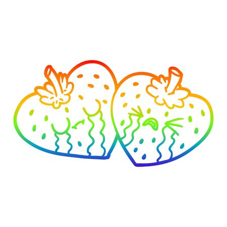 rainbow gradient line drawing of a cartoon strawberries