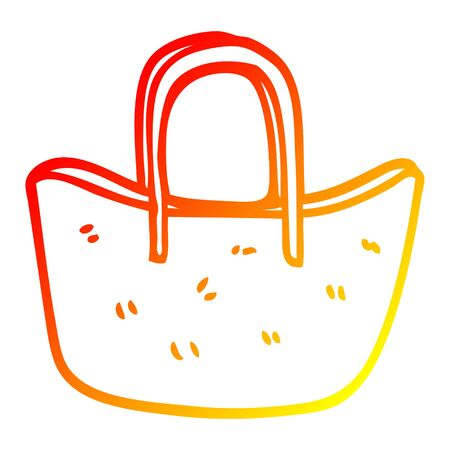 warm gradient line drawing of a cartoon woven basket