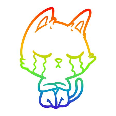 rainbow gradient line drawing of a crying cartoon cat sitting