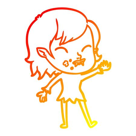 warm gradient line drawing of a cartoon vampire girl with blood on cheek Stok Fotoğraf - 130131895