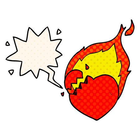 cartoon flaming heart with speech bubble in comic book style Standard-Bild - 130131897