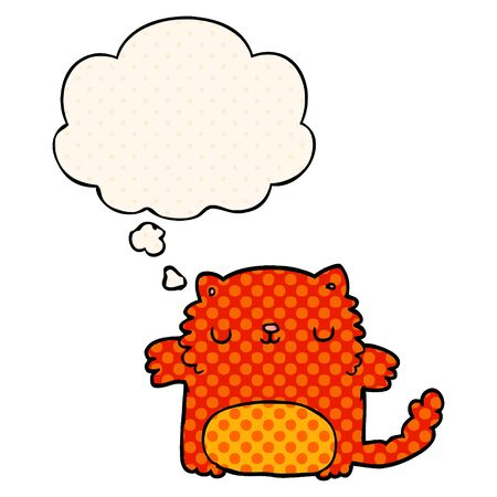 cartoon cat with thought bubble in comic book style Ilustracja