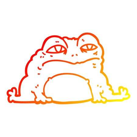 warm gradient line drawing of a cartoon toad
