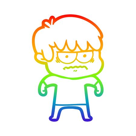 rainbow gradient line drawing of a annoyed cartoon boy