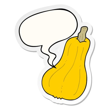 cartoon squash with speech bubble sticker Vetores