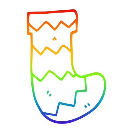 rainbow gradient line drawing of a cartoon christmas stocking Standard-Bild - 130144032