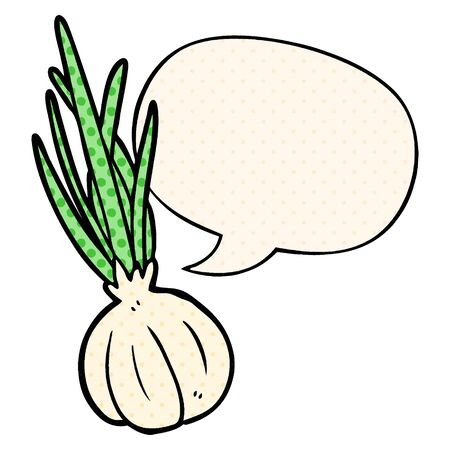 cartoon garlic bulb with speech bubble in comic book style