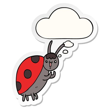 cute cartoon ladybug with thought bubble as a printed sticker Banco de Imagens - 130131788