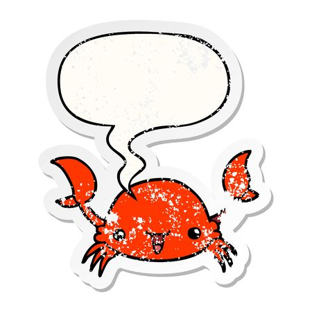 cartoon crab with speech bubble distressed distressed old sticker