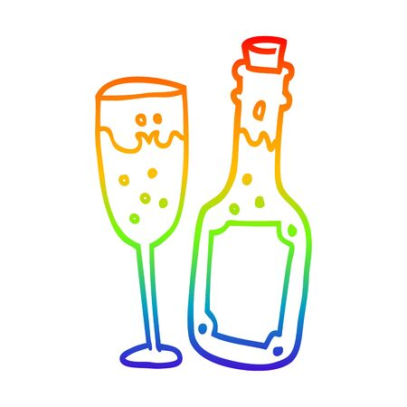 rainbow gradient line drawing of a cartoon champagne bottle and glass