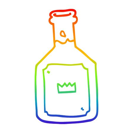 rainbow gradient line drawing of a cartoon alcoholic drink