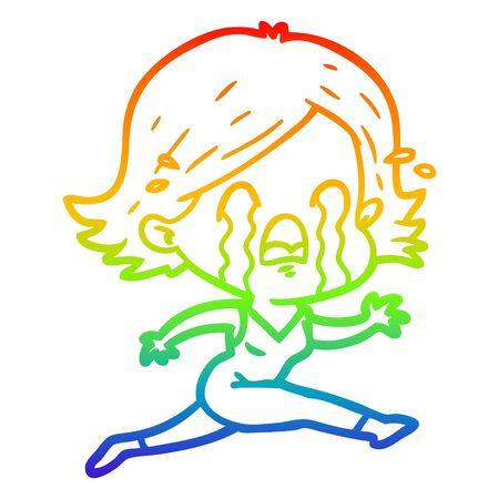 rainbow gradient line drawing of a cartoon woman crying Фото со стока - 130131833