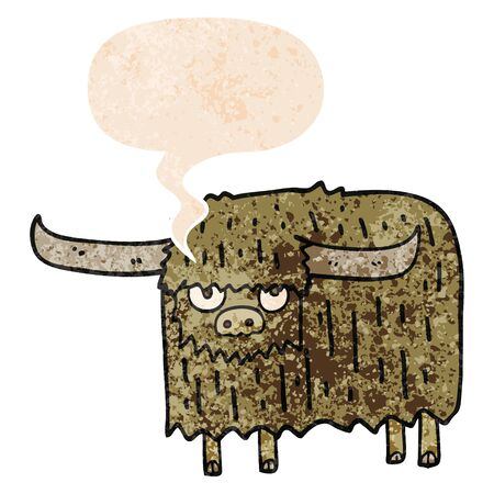 cartoon hairy cow with speech bubble in grunge distressed retro textured style