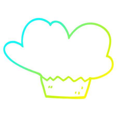 cold gradient line drawing of a cartoon cupcake Çizim