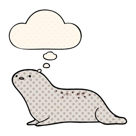 cartoon seal with thought bubble in comic book style Ilustração