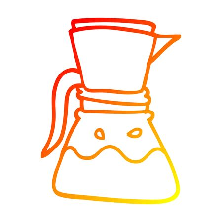 warm gradient line drawing of a cartoon filter coffee