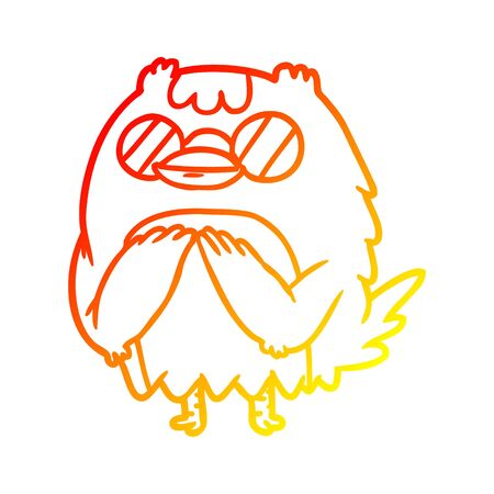 warm gradient line drawing of a cute wise old owl