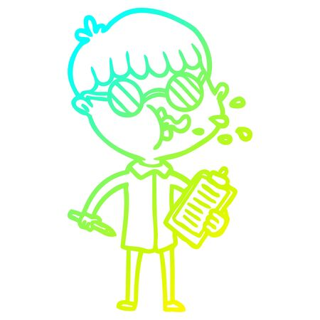 cold gradient line drawing of a cartoon boy wearing spectacles with clip board