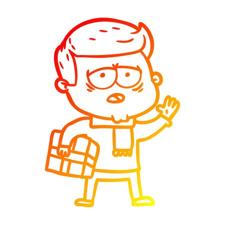 warm gradient line drawing of a cartoon tired man