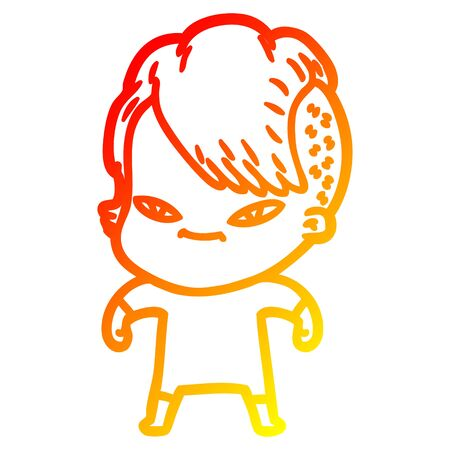 warm gradient line drawing of a cute cartoon girl with hipster haircut 向量圖像
