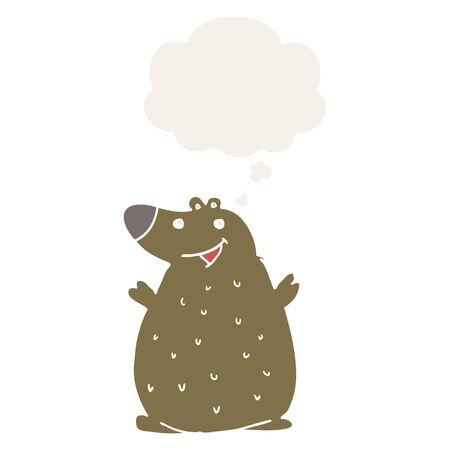 cartoon happy bear with thought bubble in retro style Ilustração
