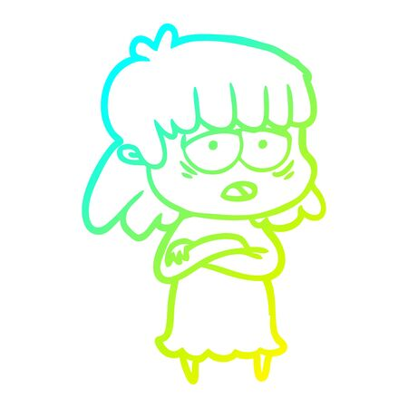 cold gradient line drawing of a cartoon tired woman 版權商用圖片 - 130144114