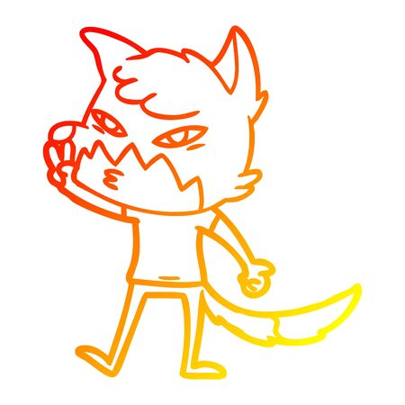 warm gradient line drawing of a clever cartoon fox