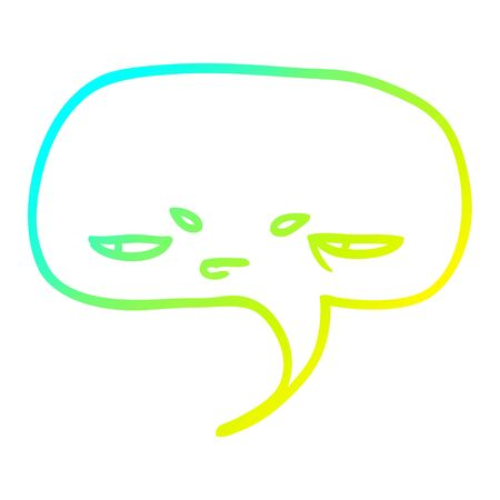 cold gradient line drawing of a cartoon speech bubble with face