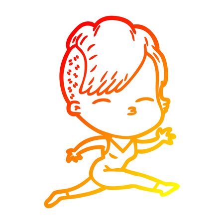 warm gradient line drawing of a cartoon girl leaping